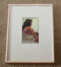 """Original Framed 1988 Pastel Drawing by Jody dePew McLeane """"Lady/Orange Sleeve"""""""
