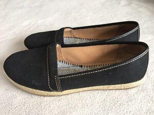 BOC Born Espadrille Black Fabric Canvas Flats Shoes Size 8M Women's No Insoles