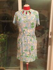 Vintage Light Blue White And Green Floral Print Keyhole Shift Dress