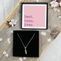 REAL Silver Best Gran Ever Feather Necklace Birthday Gift Box Jewellery Present