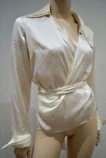 Anne Fontaine Creme Seide umwickeln Kragen Plunge V Ausschnitt Bluse Shirt Top Sz3