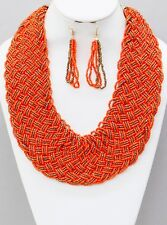 Multi Strand Orange Brown Glass Seed Bead Braided Wide Necklace Earring Set