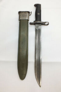 "Vintage Springfield Armory M1905 10"" Bayonet WORLD WAR ll M7 Scabbard M1 Garand"