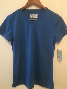 NEW!! WOMEN'S NEW BALANCE ENDURANCE TECH SHORT SLEEVE T SHIRT - BLUE - WRT928P
