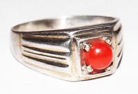 Rare 100% Natural Japan Coral Gemstone Handmade 925 Silver Ring #rmc12