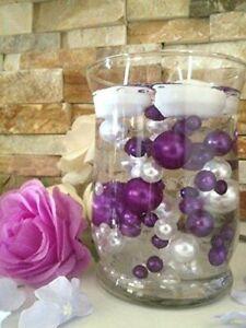 Purple/White Pearls DIY Floating Pearls Decor 80pcs No Hole Pearls
