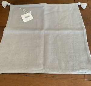 serena & lily Eva tassel Linen pillow cover 20x20 New Smoke Gray W Tags