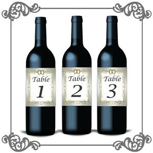Wedding Table Numbers 1-10 Bottle Labels/Cards For Table Centrepiece Vintage