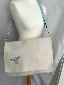 HANDMADE Large Messenger Bag Beige Fabric COW Motif BNWT TOTALLY UNIQUE LILLY11