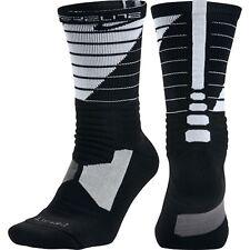NIKE Hyper Elite Power-Up Basketball Socks Black White Men 6-8 Women 6-10 Medium