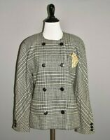 ESCADA $1090 Houndstooth Double Breasted Wool Jacket 34 / Size 4