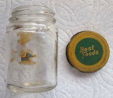 "Vtg Best Foods Mayonnaise Jar with Metal Lid/4 oz/3"" tall/Triangle Maker's Mark."