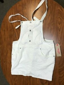 WOMENS NEW WITH TAGS LEVI STRAUSS WHITE DENIM OVERALLS BIBS SHORTS SIZE XL