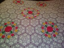 KING SIZE ANTIQUE HANDMADE FLORAL CROCHET LACE BEDSPREAD COTTON 89 BY 84 INCHES