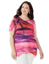 Catherines Size 2X Sunset Palms Polyester Embellished Top