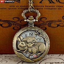 Chain Vintage Antique Necklace Pendant Bronze Animal Rabbit Quartz Pocket Watch