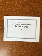 Mode d'emploi machine à écrire MIGNON 3 & 4, user's guide for typewriter Mignon