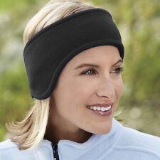 Black Unisex Ear Warm WInter Headband Polar Fleece Ski Stretch Hat Hairband Gift