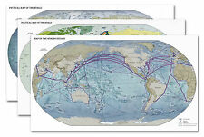 """SET of THREE (3) World Maps - Oceans Political & Physical - each are 24"""" x 42"""""""