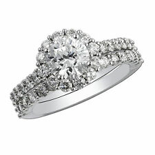 Natural 1.80 CT Diamond Engagement Wedding Ring Set Solid 14kt Gold Size L M N O