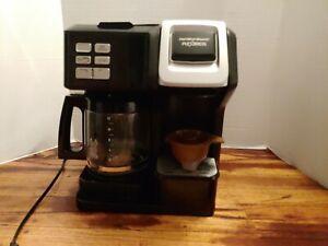Hamilton Beach Flex Brew 2-Way Coffee Maker - Black/Silver K Cup And Carafe!