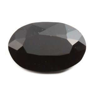Large antique Czech hand cut black oval faceted glass rhinestone 31x20mm