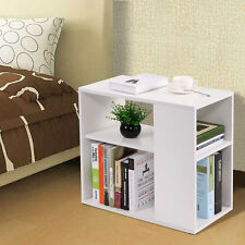 White Chair Side Table Wooden End Shelf Living Room Furniture Book Shelf