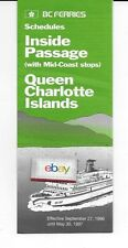 BC FERRIES INSIDE PASSAGE-QUEEN CHARLOTTE ISLANDS 9-27-1996 SCHEDULES-ROUTE MAPS