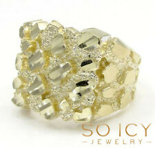 7 Grams Size 11 10k Yellow Real Gold Mens Hip Hop Square Large Nugget Ring