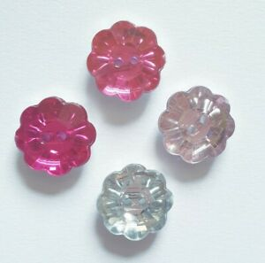 10 Daisy Flower Buttons Acrylic 15mm Size Ligne 24 Clear Pink baby cardigan