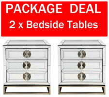 2x Mirrored Bedside Tables 3 Drawer Chest Dressing Nightstand Mirror Furniture