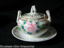 mustard pot 1800's plate antique porcelain one piece double handle w lid