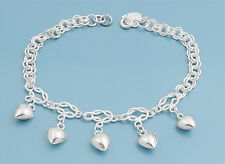 "Bracelet with 5 Heart Charms Sterling Silver 925 Jewelry Gift 7"" adjust to 8"