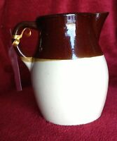 Vintage Robinson Ransbottom Brown & Tan Pitcher - Roseville Ohio Pottery Jug- 6""