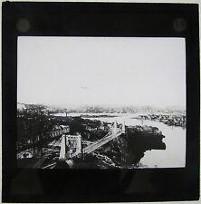 Magic lantern Slide c1900 Suspension Bridge & City in Canada America UK ?