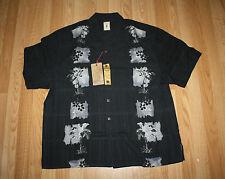 NWT Mens JAMAICA JAXX Black Gray White Floral Hawaiian Silk Shirt Size M Medium