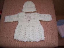 NEW HAND CROCHET BABY JACKET & CAP BABY GREEN  NEWBORN
