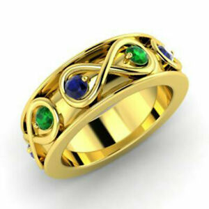 0.80 Carat Real Blue Sapphire Green Emerald Rings 14K Yellow Gold Size M N O P Q