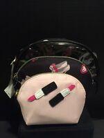 Betsey Johnson Away We Go Black 3 PC Makeup Cosmetic Bag Set NWT