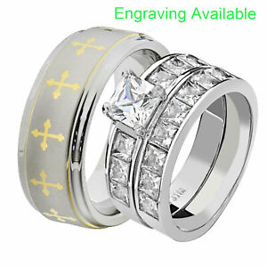 His & Hers Wedding Rings Sets Stainless Steel Princess CZ Tungsten Men Band GY