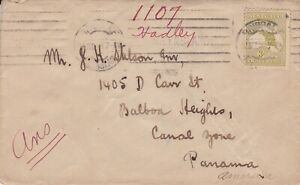APH1769) Australia Rare 1917 WWI small cover to Canal Zone. Bears 3d 3rd wmk.