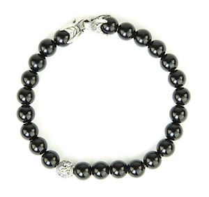 DAVID YURMAN Men's Black Onyx Spiritual Accent Bead Bracelet $495 NEW