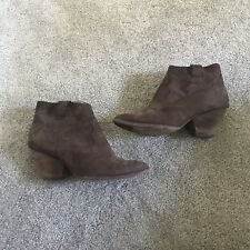 FRYE REINA Brown NUBUCK LEATHER  ZIP ANKLE COWBOY ANKLE BOOTS BOOTIES SZ 6