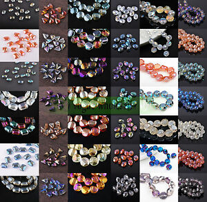 10pcs 12mm Rondelle Heart Coin Rectangle Oval Faceted Crystal Glass Loose Beads
