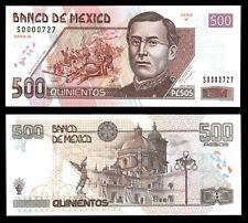 Banco de Mexico 500 Pesos 18-10-2000, P-120a. Low Serial # 0000727 UNC