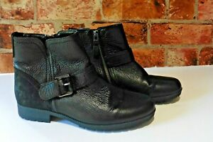 HOTTER LOTTY BLACK LEATHER ANKLE BOOTS SIZE UK 5 STANDARD FIT RRP £89
