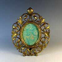 Vintage Gilded Metal Oval Photo Frame with Easel