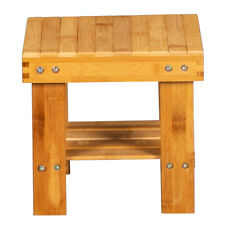 Bath Shower Stool Seat Bathtub Fished Spa Bench Chair Seat Bamboo Wood Foot Rest