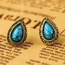 Women Vintage Blue Drop Heart Hollow Bronze Retro Cute Ear Stud Earrings Jewelry