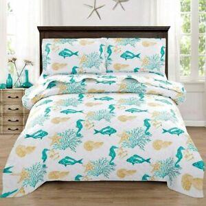 QUEEN/FULL size 3 Piece Quilt Set Coastal Ocean Starfish Bedspread Coverlet